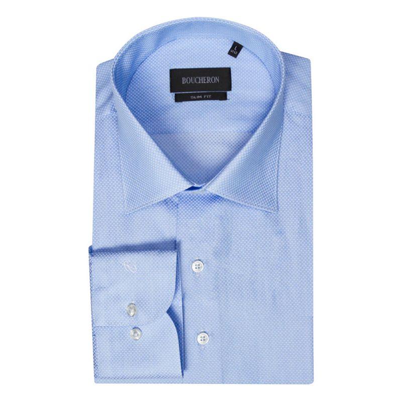 Рубашка голубая в мелкую клетку приталенная