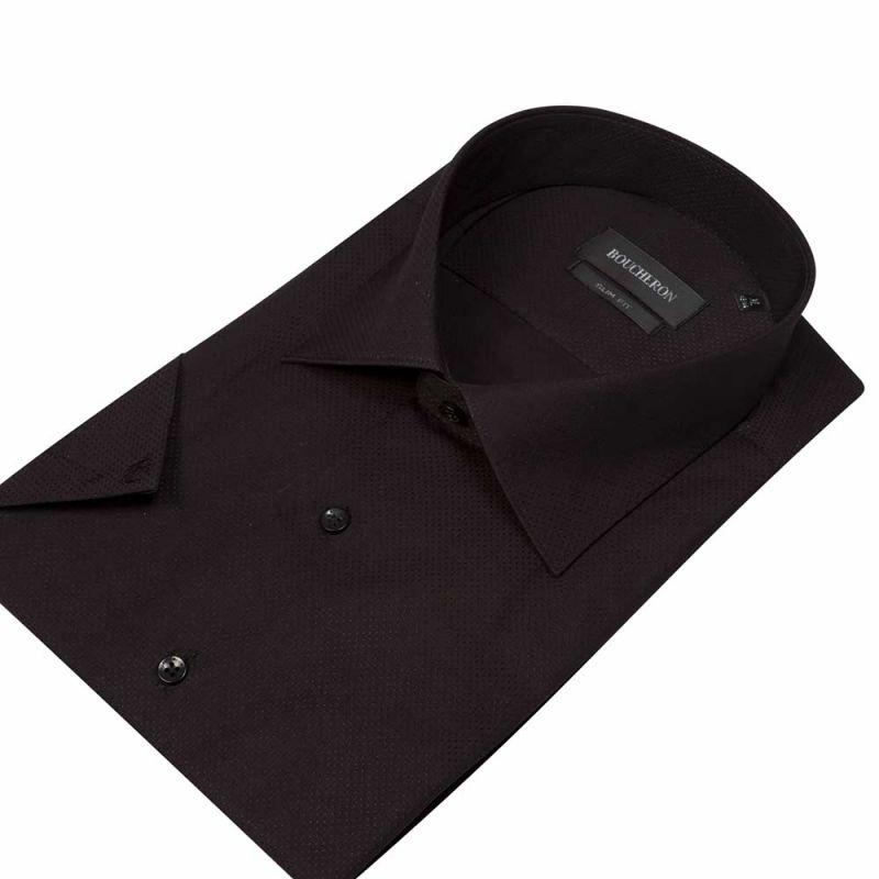Рубашка чёрная с выделкой, с короткими рукавами, приталенная