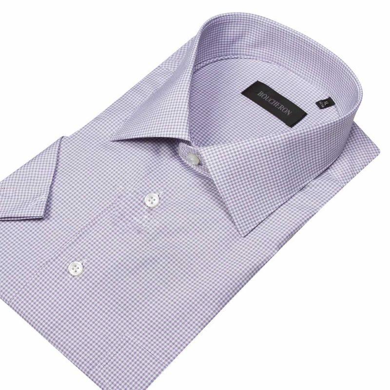 Рубашка светло-лиловая в клетку, с короткими рукавами, неприталенная