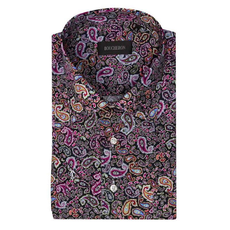Рубашка с огурцами, с короткими рукавами, неприталенная