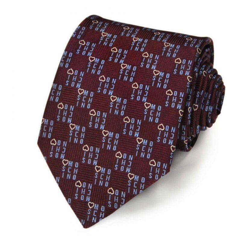 Бордовый шелковый галстук Moschino c логотипами и сердечками