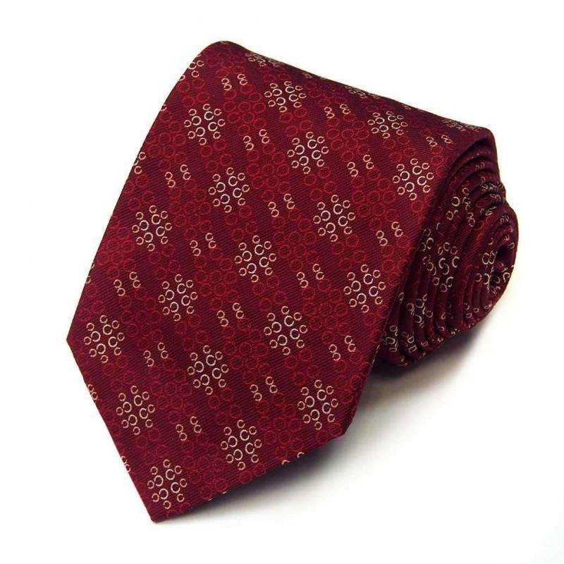 Бордовый шёлковый галстук Celine с узором