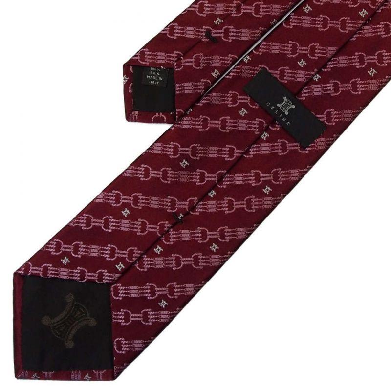 Бордовый шёлковый галстук Celine с дизайнерским узором