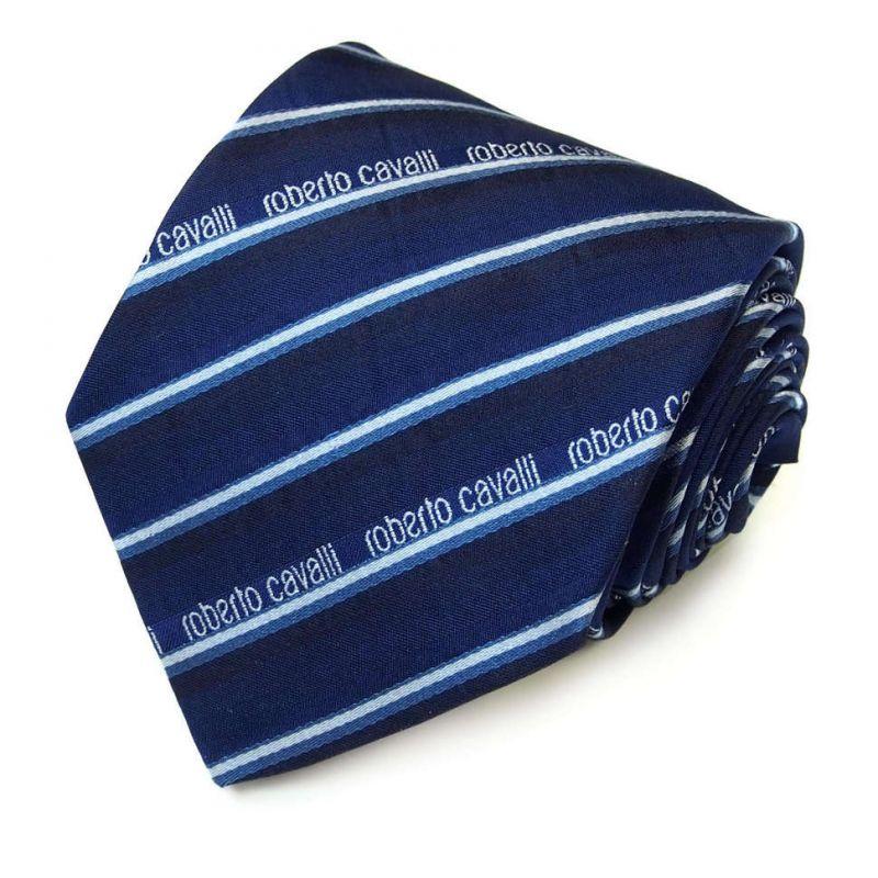 Синий галстук Roberto Cavalli в полоску