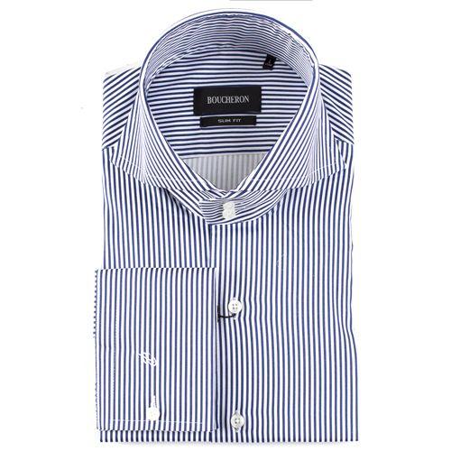 Рубашка тёмно синяя в полоску приталенная