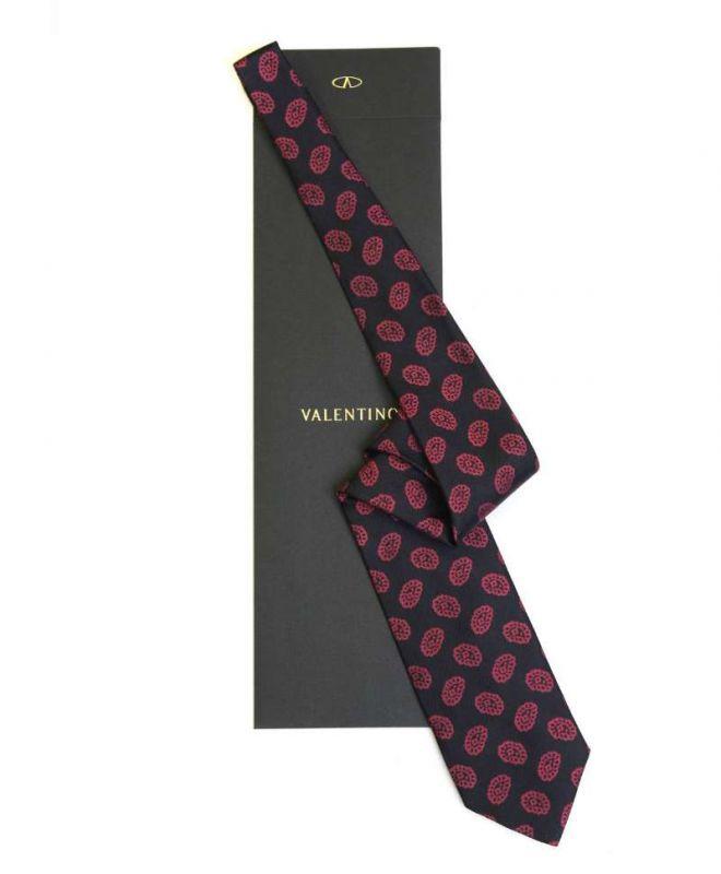 Чёрный галстук с красным рисунком из шёлка Valentino