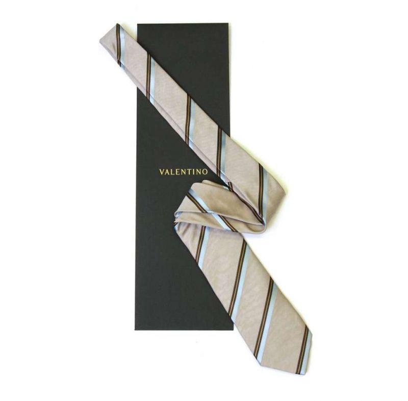 Бежевый галстук в полоску из шёлка Valentino