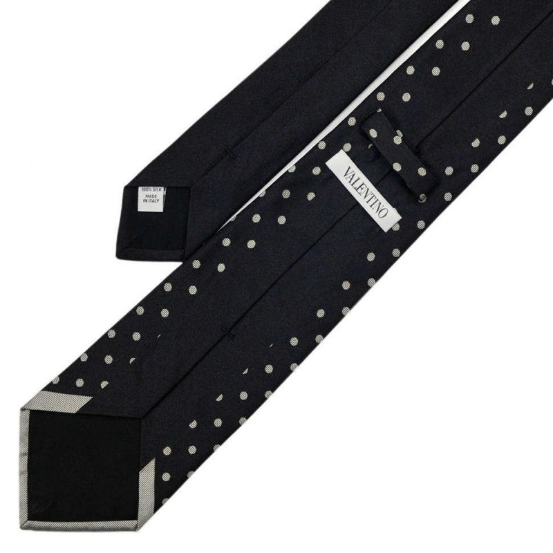 Чёрный галстук в горошек из шёлка Valentino