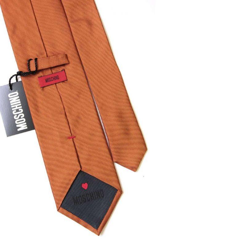 Светло-коричневый шелковый галстук Moschino c логотипом