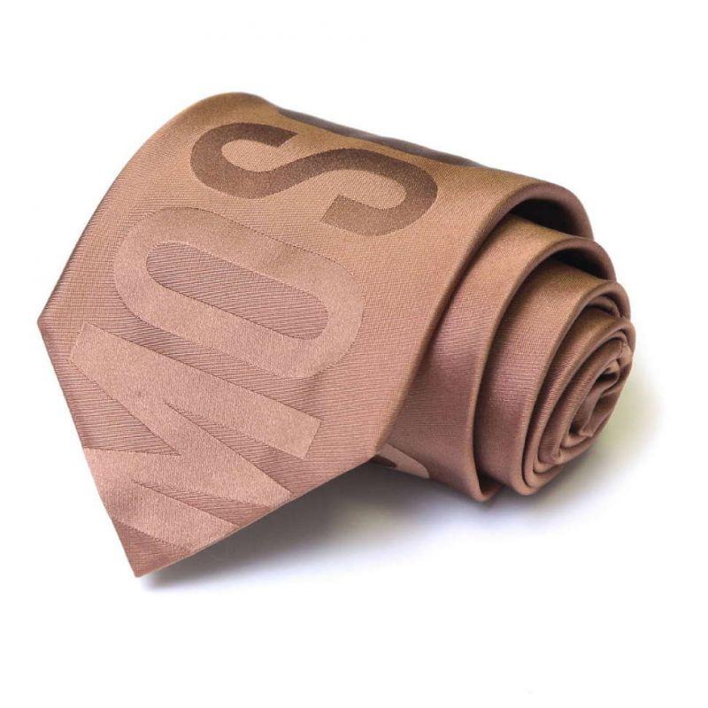 Бежевый шёлковый галстук с надписью Moschino