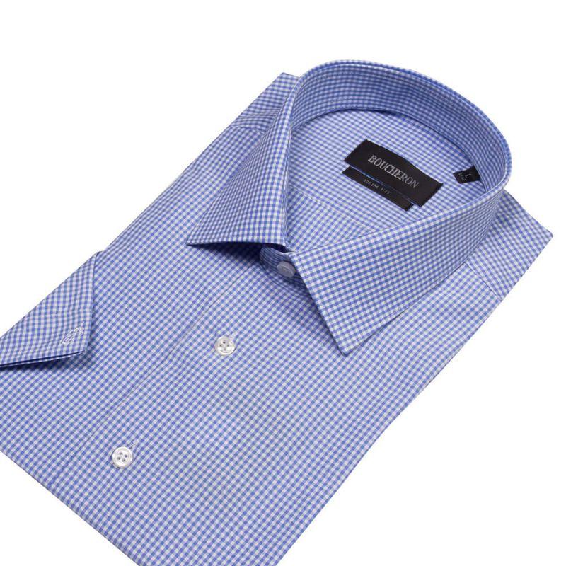Рубашка голубая в мелкую клетку, с короткими рукавами, приталенная