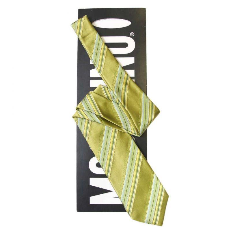 Зелёный шёлковый галстук Moschino в полоску