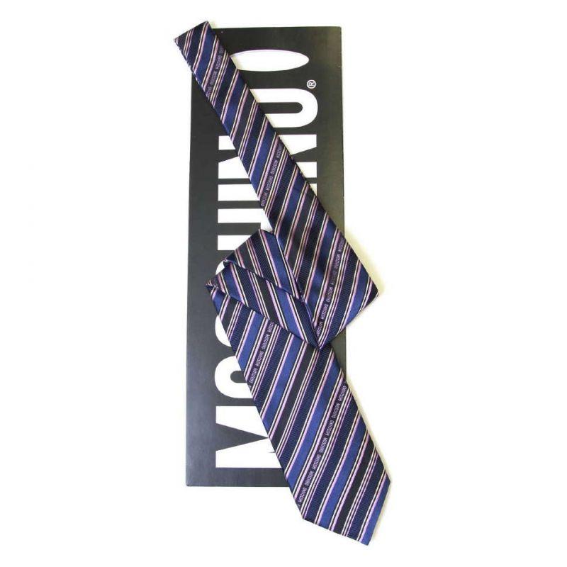 Синий шёлковый галстук Moschino в полоску