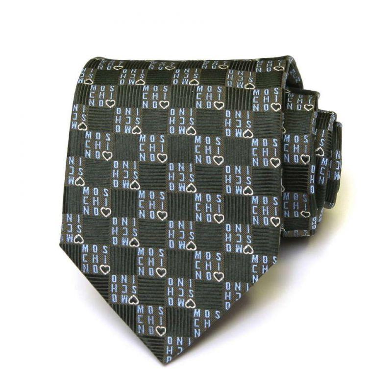Зелёный шёлковый галстук с надписями Moschino в клетку