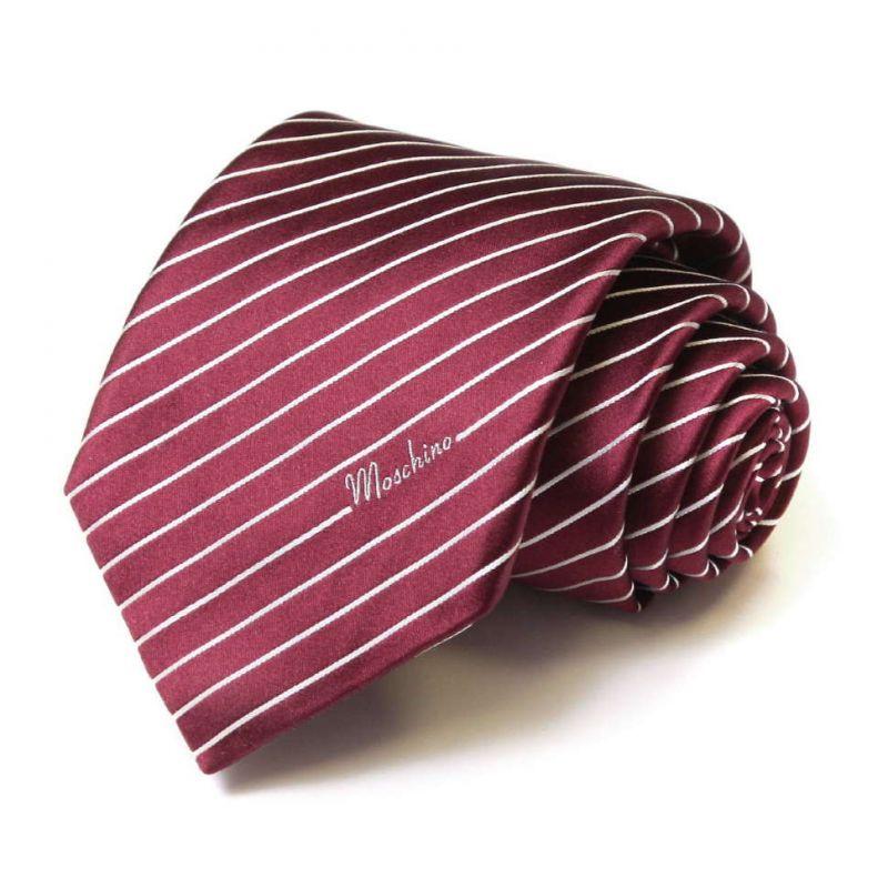 Бордовый шёлковый галстук Moschino в тонкую полоску