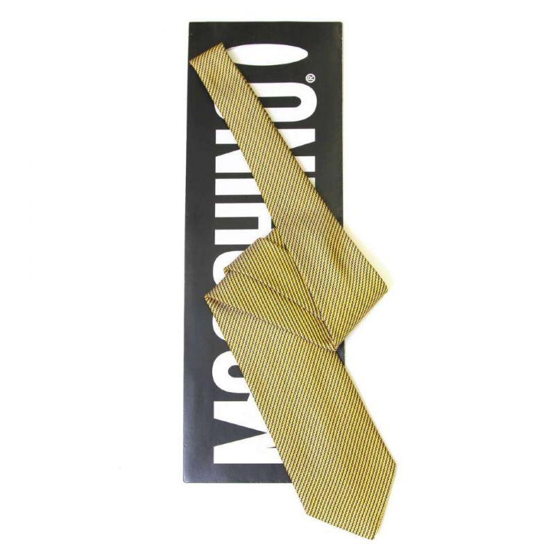 Жёлтый шёлковый галстук Moschino в полоску