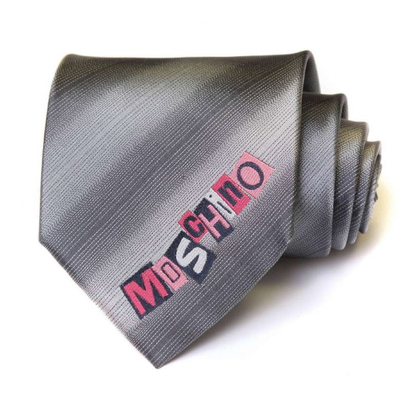 Серый шёлковый галстук в полоску с логотипом Moschino