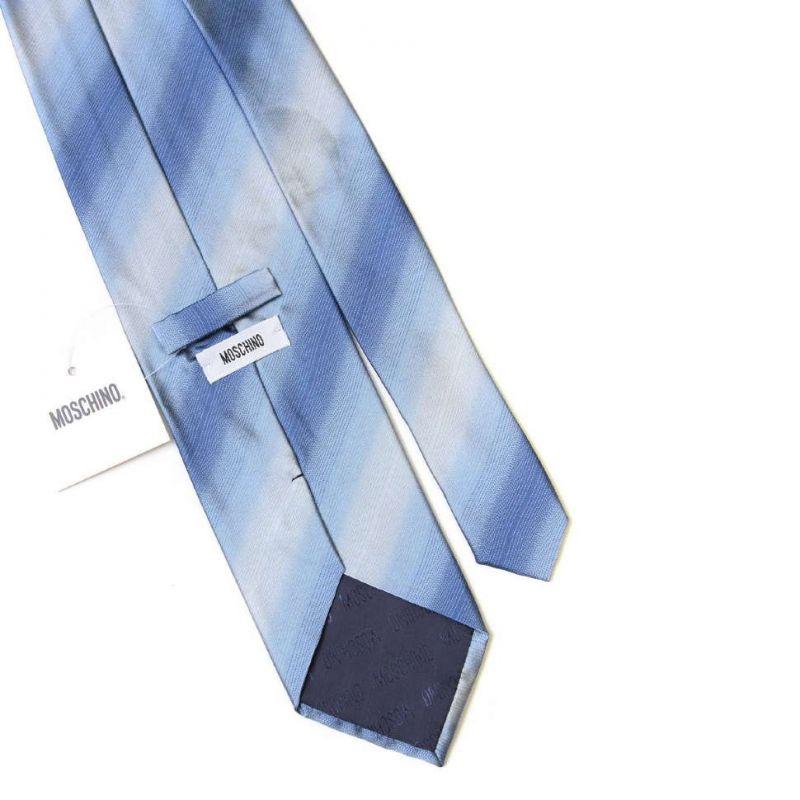 Голубой шёлковый галстук с логотипом Moschino