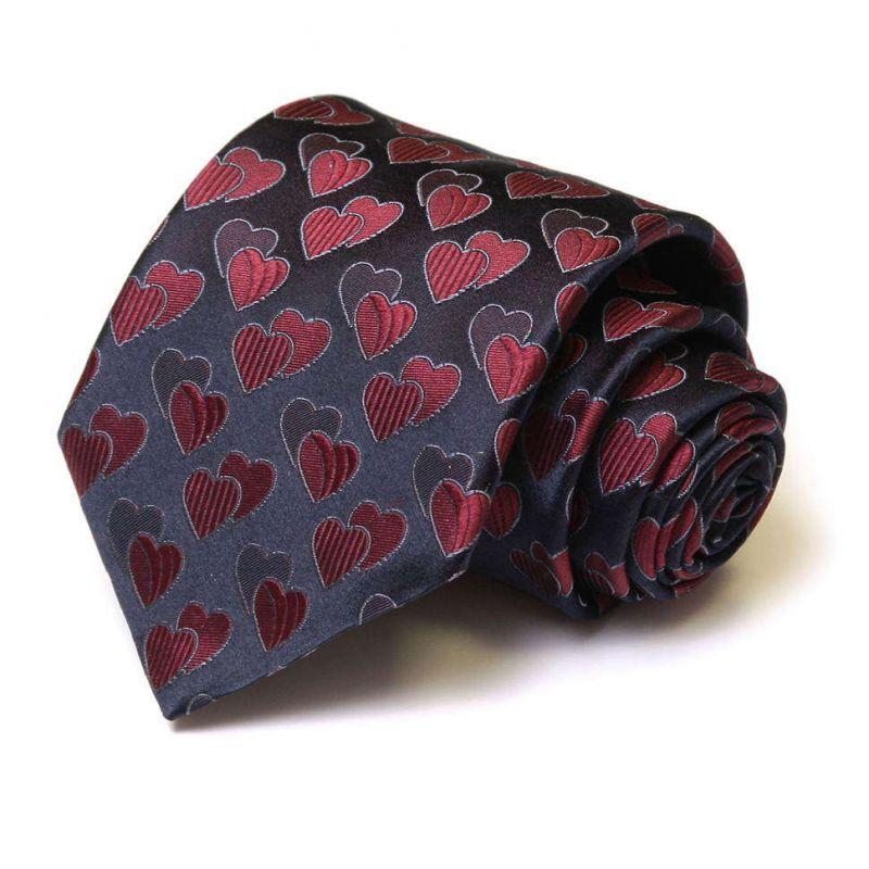 Синий шёлковый галстук Moschino с сердечками