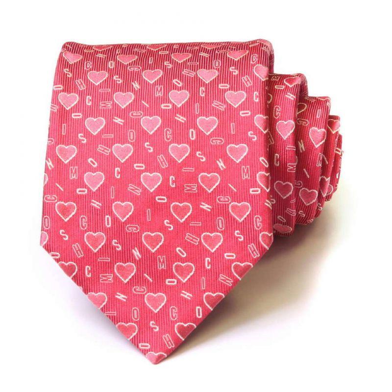 Розовый шёлковый галстук с буквами Moschino и сердечками