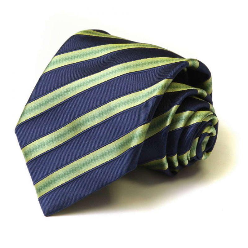 Шёлковый галстук Moschino с синими и зелёными полосками