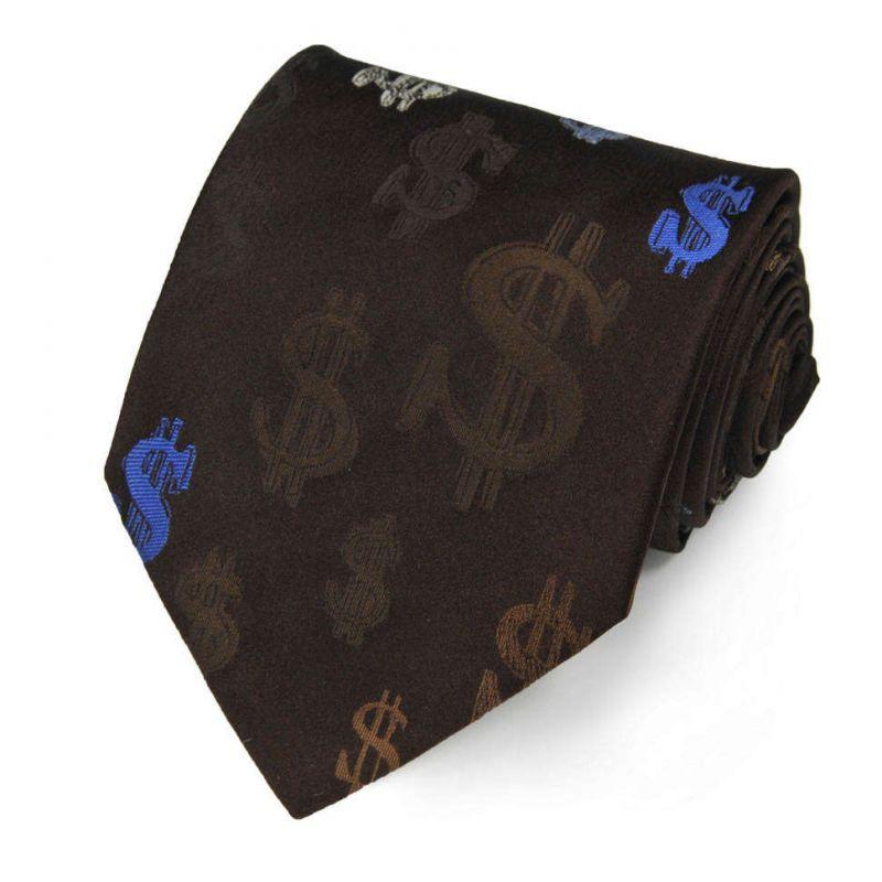 Коричневый шёлковый галстук Moschino со значками доллара