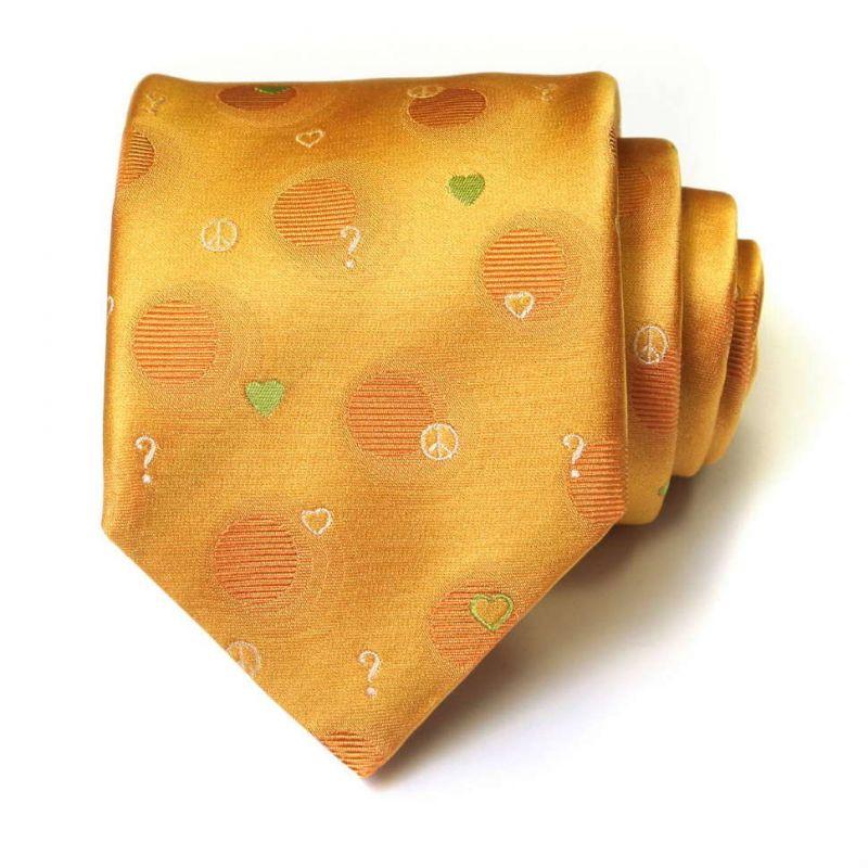 Золотой шёлковый галстук Moschino в горошек