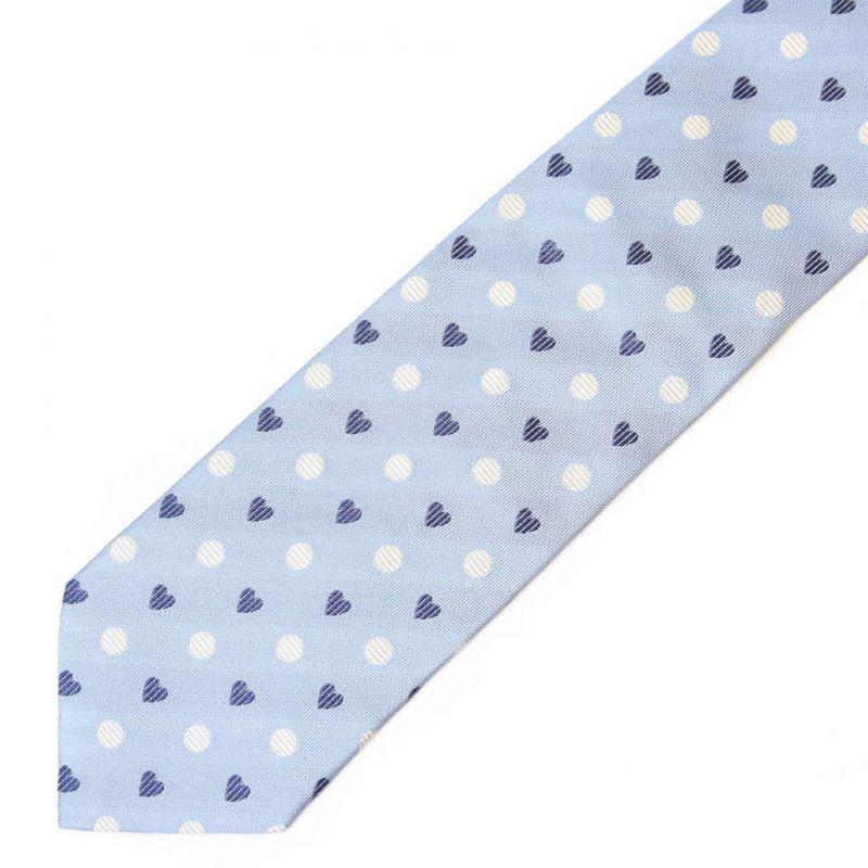 Голубой шёлковый галстук Moschino с сердечками