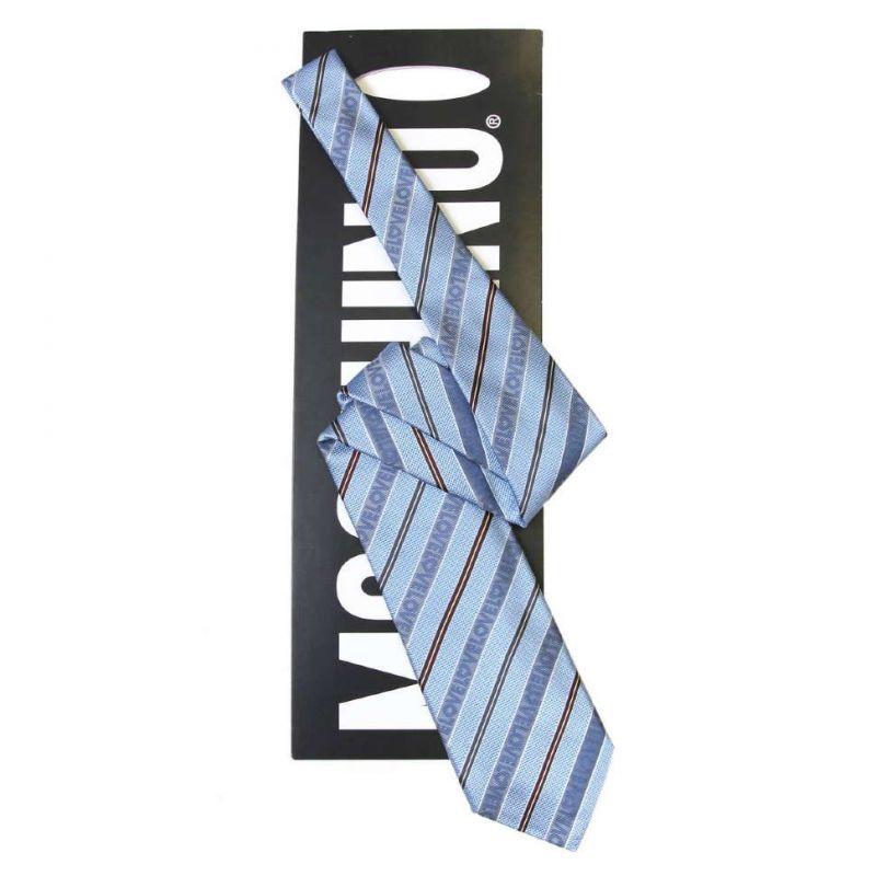 Голубой шёлковый галстук Moschino в тонкую полоску