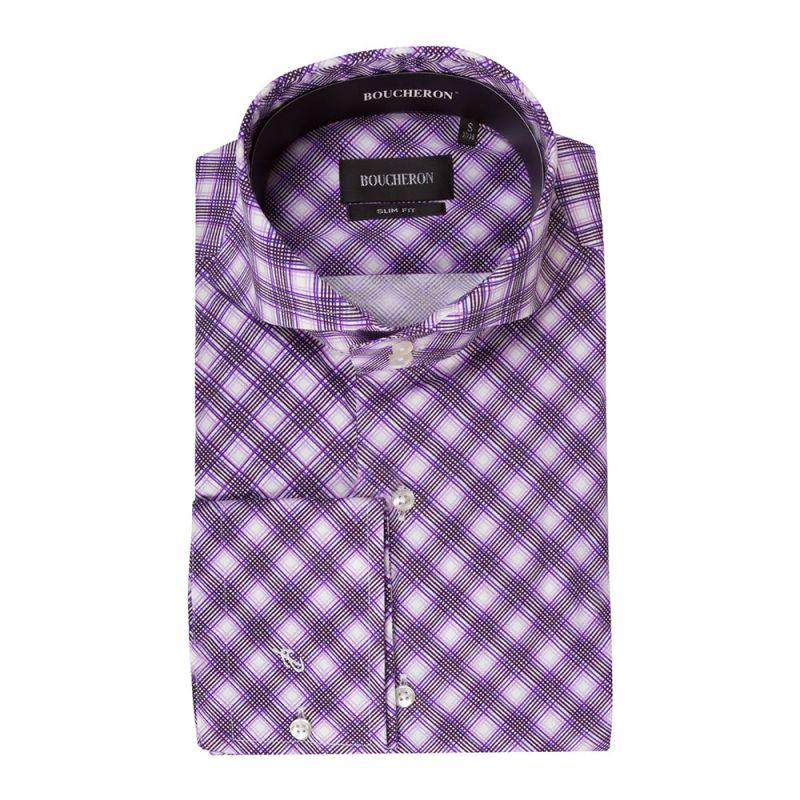 Рубашка фиолетовая в крупную клетку приталенная