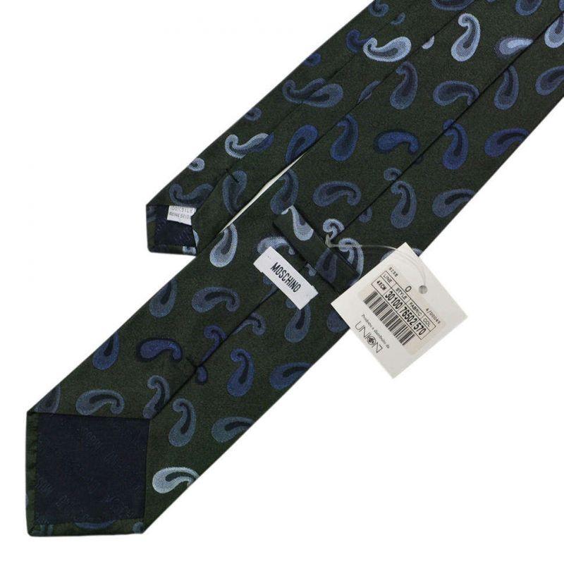 Тёмно-зелёный шёлковый галстук Moschino с рисунком пейсли