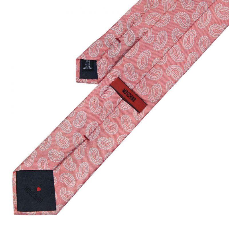 Розовый шёлковый галстук Moschino с рисунком пейсли