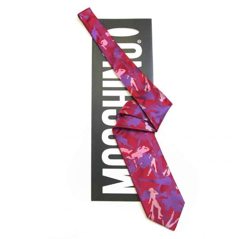 Розовый шёлковый галстук Moschino с фигурами танцующих