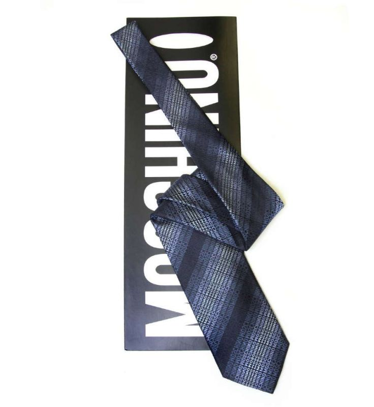 Синий шёлковый галстук с надписями Moschino в полоску