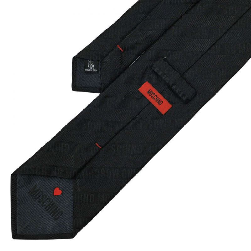 Чёрный шёлковый галстук Moschino в полоску