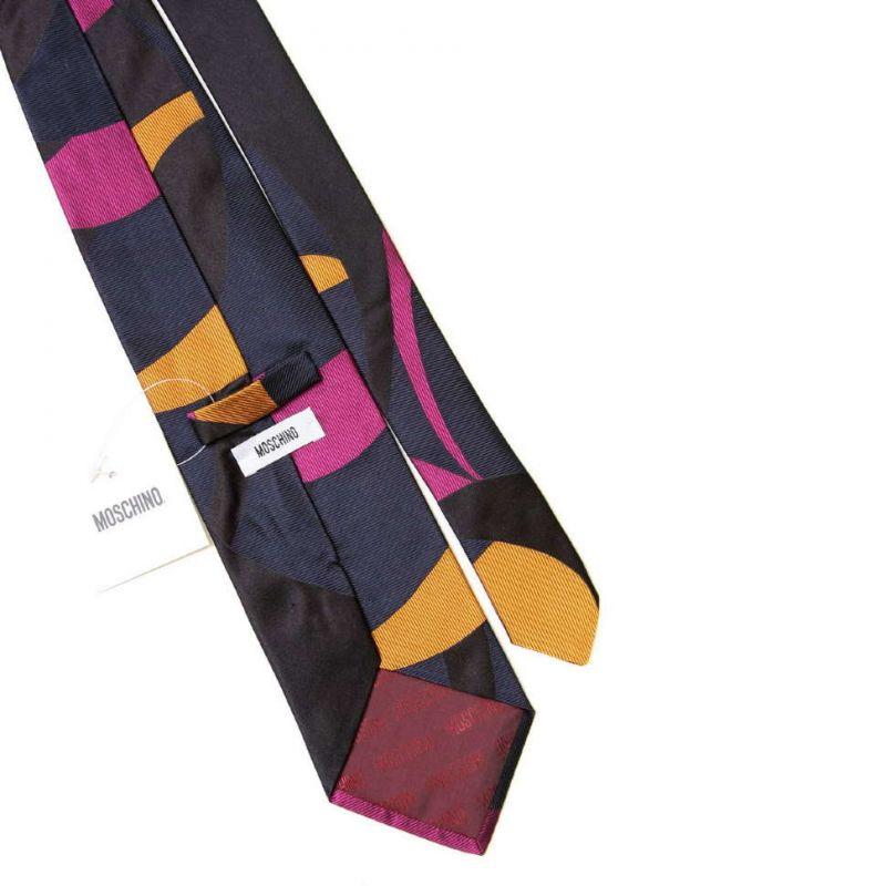 Шёлковый галстук Moschino с разноцветным абстрактным принтом