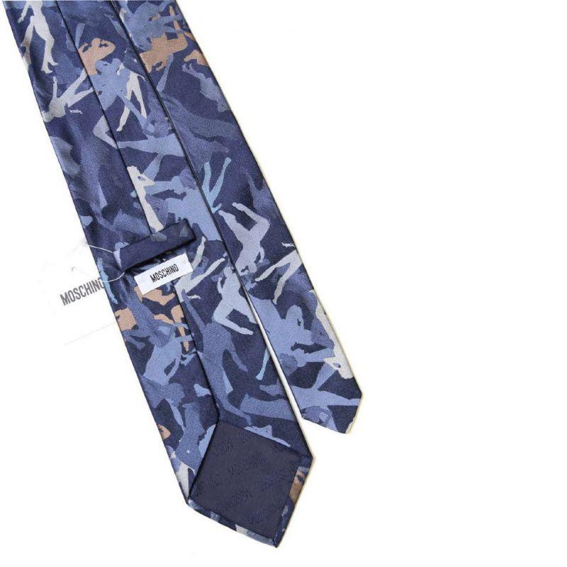 Синий шёлковый галстук Moschino с фигурами танцующих
