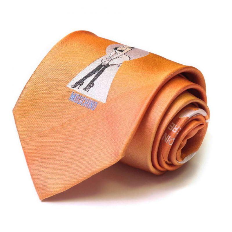 Оранжевый шёлковый галстук Moschino с обнаженной девушкой