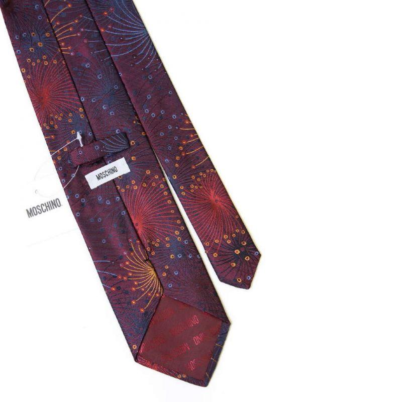 Коричневый шёлковый галстук Moschino с фейерверками