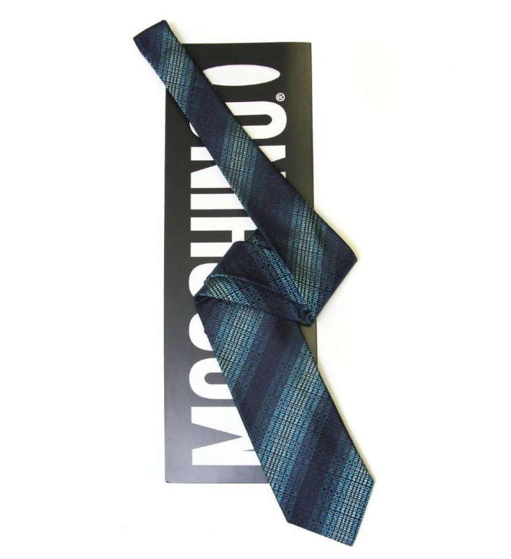 Бирюзовый шёлковый галстук с надписями Moschino в полоску