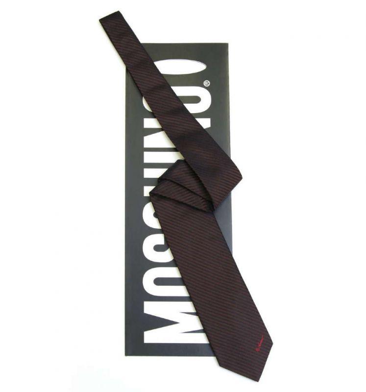 Тёмно-коричневый шёлковый галстук Moschino в полоску