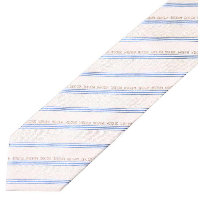Бежевый шёлковый галстук Moschino в голубую полоску