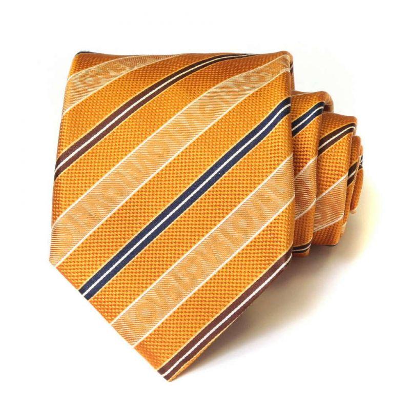 Оранжевый шёлковый галстук Moschino в полоску