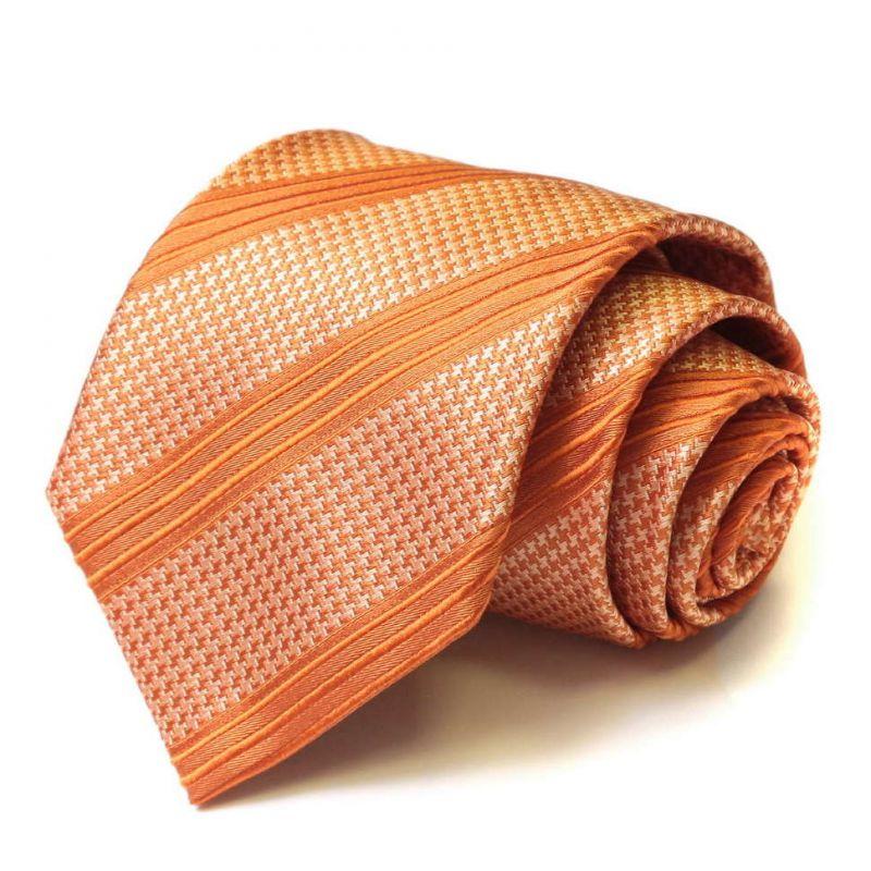 Оранжевый шёлковый галстук Moschino с мелким рисунком