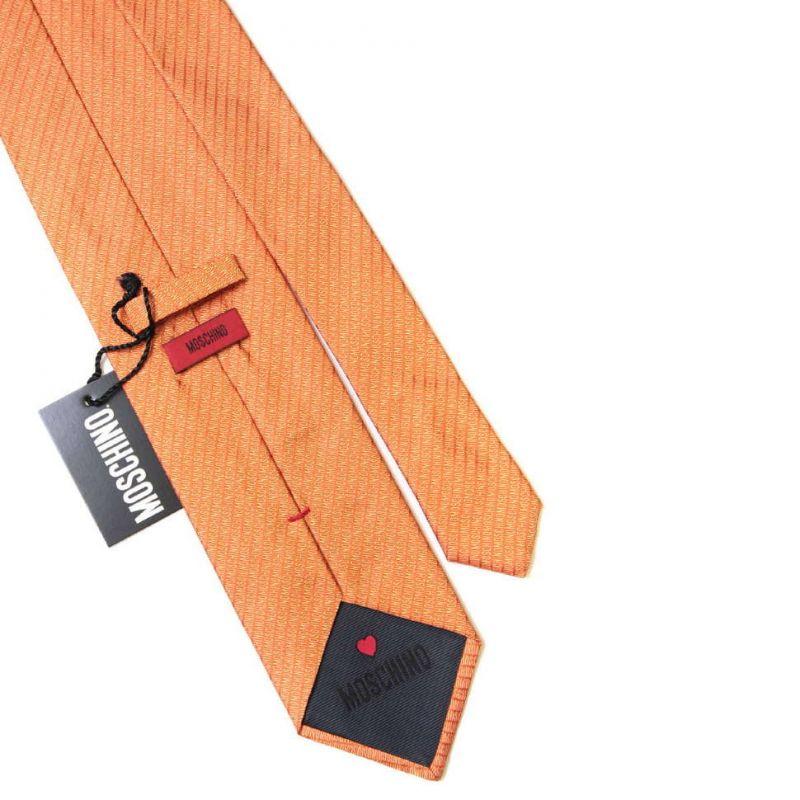 Оранжевый шёлковый галстук с надписями Moschino