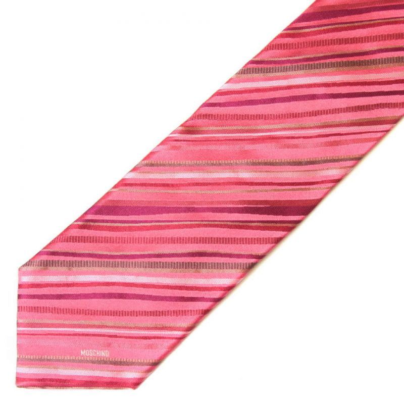 Розовый шёлковый галстук Moschino в полоску