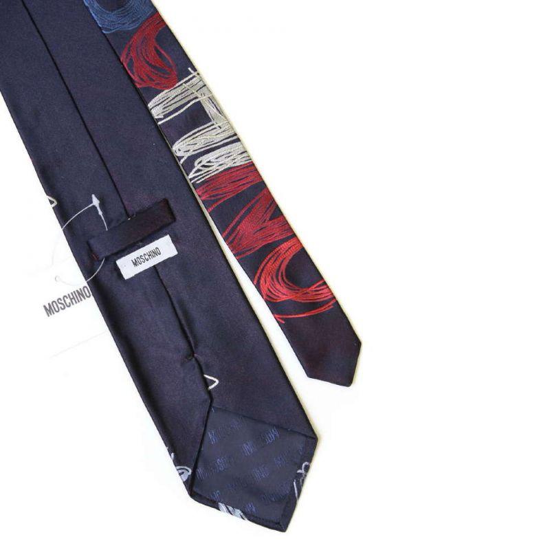 Тёмно-синий галстук с большой надписью Moschino