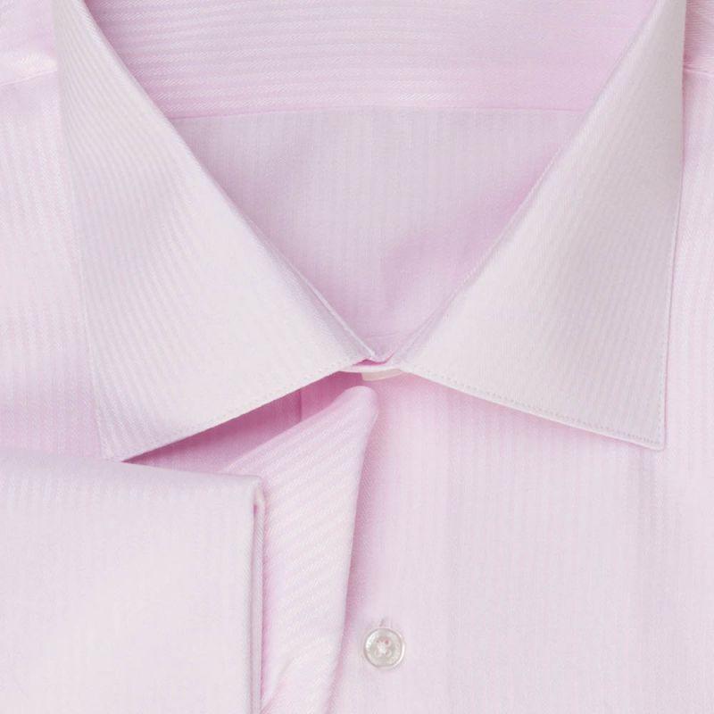 Рубашка розовая в полоску, под запонки, приталенная