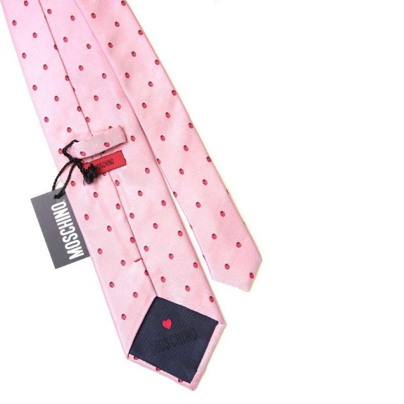 Розовый галстук Moschino с божьими коровками