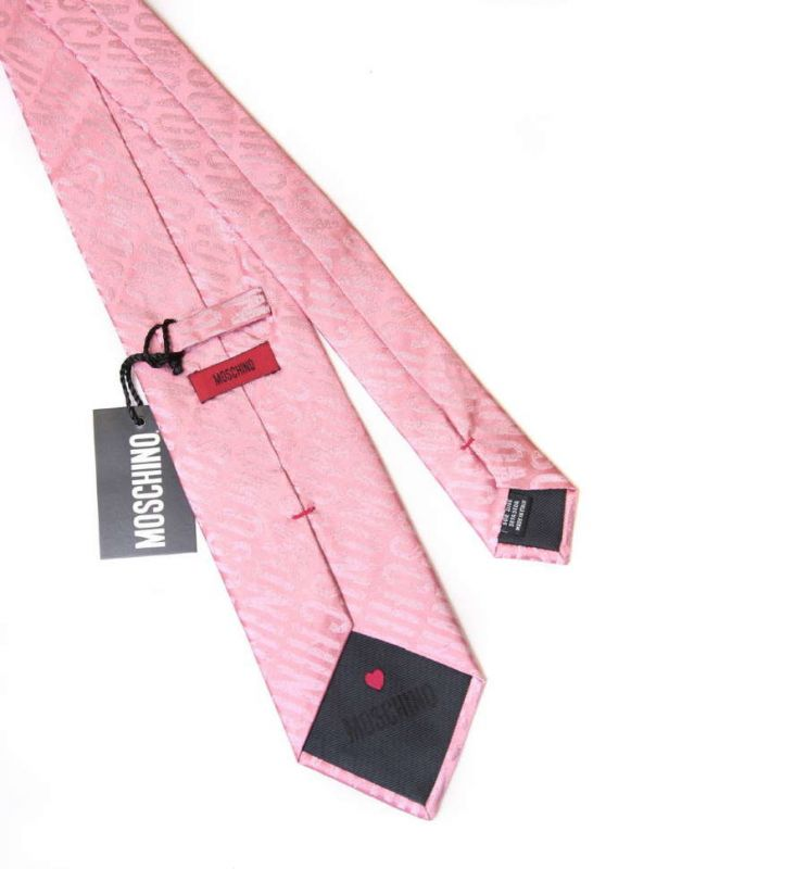 Розовый галстук с надписями Moschino из шёлка